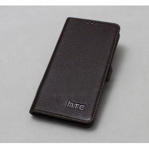 Кожаный чехол горизонтальная книжка (нат. кожа) для HTC Desire 820 Коричневый