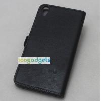 Кожаный чехол горизонтальная книжка (нат. кожа) для HTC Desire 820 Черный