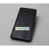 Кожаный чехол портмоне (нат. кожа крокодила) для HTC Desire 820 Черный