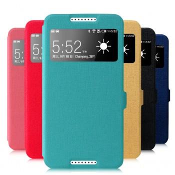 Чехол смарт флип на пластиковой основе с окном вызова серия Colors для HTC Desire 820