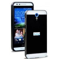 Двухкомпонентный чехол с металлическим бампером и поликарбонатной накладкой для HTC Desire 620 Черный