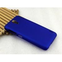 Пластиковый матовый металлик чехол для HTC Desire 620 Синий