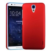 Пластиковый матовый металлик чехол для HTC Desire 620 Красный