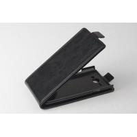 Чехол вертикальная книжка на пластиковой основе с магнитной застежкой для Philips S388 Черный