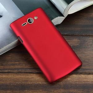 Пластиковый матовый металлик чехол для Philips S388 Красный