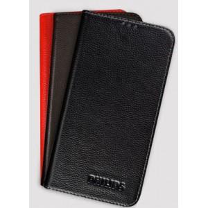 Кожаный чехол горизонтальная книжка (нат. кожа) для Philips S388
