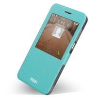 Чехол смарт флип на силиконовой основе с окном вызова для Huawei Ascend G7 Голубой