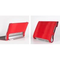 Чехол смартфлип подставка текстурный с рамочной защитой и магнитными клапанами крышки для Lenovo Yoga Tablet 2 10 Красный