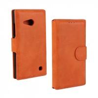 Винтажный чехол портмоне подставка с защелкой для Nokia Lumia 730/735 Оранжевый