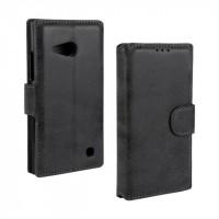 Винтажный чехол портмоне подставка с защелкой для Nokia Lumia 730/735 Черный