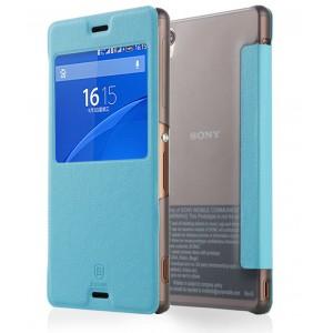 Чехол смарт флип на полупрозрачной пластиковой основе с окном вызова для Sony Xperia Z3 Голубой