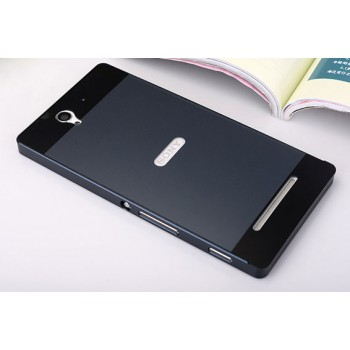 Двухкомпонентный чехол металлический бампер и поликарбонатная накладка для Sony Xperia C3