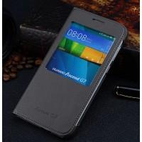 Оригинальный кожаный чехол смартфлип на пластиковой основе с окном вызова для Huawei Ascend G7
