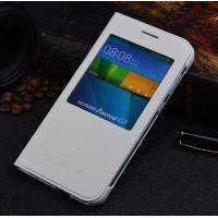 Оригинальный кожаный чехол смартфлип на пластиковой основе с окном вызова для Huawei Ascend G7 Белый