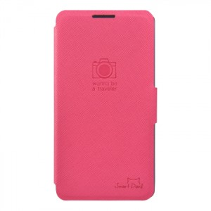 Тонкий чехол флип с отделением для LG Optimus G2 Розовый