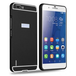 Двухкомпонентный чехол с металлическим бампером и поликарбонатной накладкой для Huawei Honor 6 Plus Черный