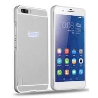 Двухкомпонентный чехол с металлическим бампером и поликарбонатной накладкой для Huawei Honor 6 Plus Белый