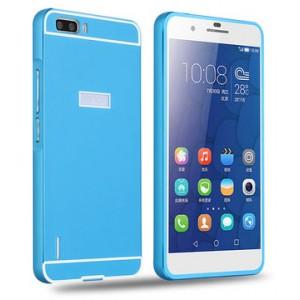 Двухкомпонентный чехол с металлическим бампером и поликарбонатной накладкой для Huawei Honor 6 Plus Голубой