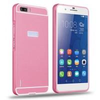 Двухкомпонентный чехол с металлическим бампером и поликарбонатной накладкой для Huawei Honor 6 Plus Розовый