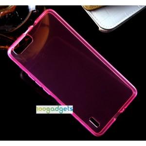 Силиконовый матовый полупрозрачный чехол для Huawei Honor 6 Plus Розовый