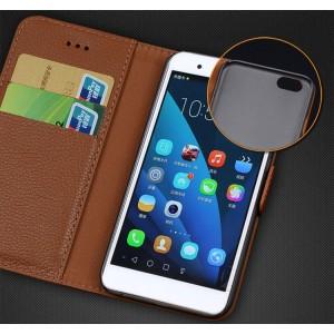 Кожаный чехол горизонтальная книжка (нат. кожа) с крепежной застежкой для Huawei Honor 6 Plus