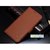 Кожаный чехол горизонтальная книжка (нат. кожа) с крепежной застежкой для Huawei Honor 6 Plus Бежевый