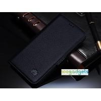 Кожаный чехол горизонтальная книжка (нат. кожа) с крепежной застежкой для Huawei Honor 6 Plus Черный