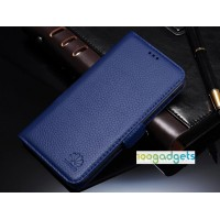 Кожаный чехол горизонтальная книжка (нат. кожа) с крепежной застежкой для Huawei Honor 6 Plus Синий