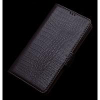 Кожаный чехол портмоне (нат. кожа крокодила) для Lenovo S90 Коричневый