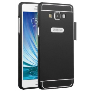 Двухкомпонентный чехол с металлическим бампером и поликарбонатной накладкой для Samsung Galaxy A7 Черный