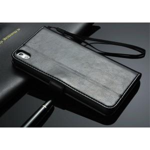 Чехол портмоне с отверстием под ремешок для HTC Desire 816 Черный