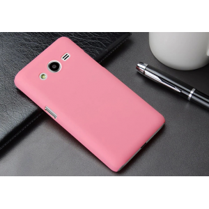 Пластиковый матовый металлик чехол для Samsung Galaxy Core 2 Розовый