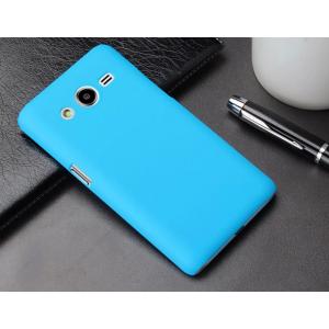 Пластиковый матовый металлик чехол для Samsung Galaxy Core 2 Голубой