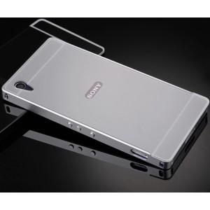 Двухкомпонентный чехол с металлическим бампером и поликарбонатной накладкой с отверстием под логотип для Sony Xperia Z2 Белый
