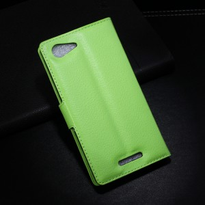 Чехол портмоне подставка с защелкой для Sony Xperia E3 Зеленый