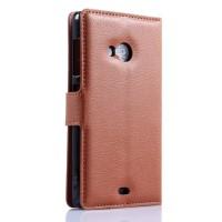 Чехол портмоне подставка с защелкой для Microsoft Lumia 535 Коричневый