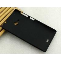 Пластиковый матовый металлик чехол для Microsoft Lumia 535 Черный