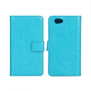 Чехол портмоне подставка с защелкой глянцевый для Sony Xperia Z1 Compact Голубой