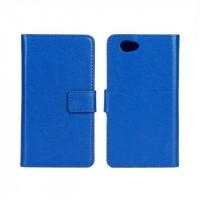 Чехол портмоне подставка с защелкой глянцевый для Sony Xperia Z1 Compact Синий