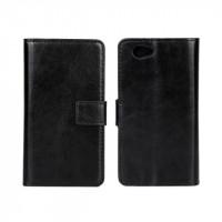 Чехол портмоне подставка с защелкой глянцевый для Sony Xperia Z1 Compact Черный