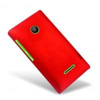 Пластиковый матовый непрозрачный чехол для Microsoft Lumia 435 Красный