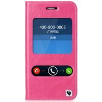 Кожаный чехол флип подставка на силиконовой основе с окном вызова и свайпом для ASUS Padfone S Розовый