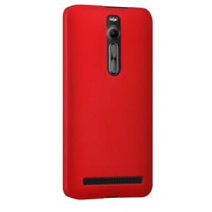 Пластиковый матовый непрозрачный чехол для Asus Zenfone 2 Красный