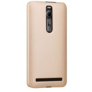 Пластиковый матовый непрозрачный чехол для Asus Zenfone 2 Бежевый