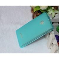 Силиконовый матовый полупрозрачный чехол для Microsoft Lumia 532 Голубой