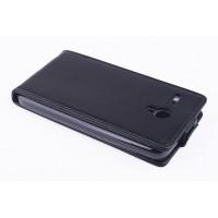 Чехол вертикальная книжка на силиконовой основе с магнитной застежкой для Lenovo A606 Черный