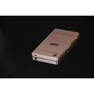 Двухкомпонентный чехол с металлическим бампером и поликарбонатной накладкой с отверстием под лого для Sony Xperia Z1 Бежевый