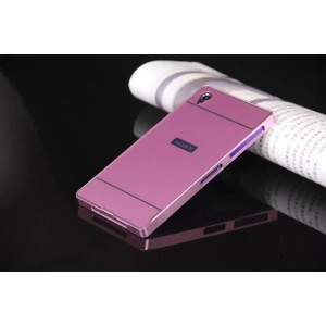 Двухкомпонентный чехол с металлическим бампером и поликарбонатной накладкой с отверстием под лого для Sony Xperia Z1 Розовый