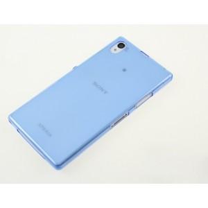 Силиконовый глянцевый полупрозрачный чехол для Sony Xperia Z1 Синий