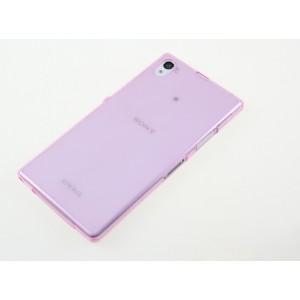 Силиконовый глянцевый полупрозрачный чехол для Sony Xperia Z1 Розовый